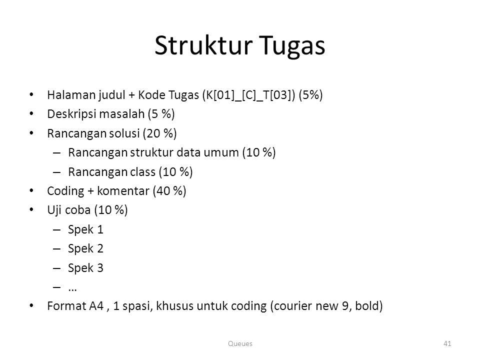 Struktur Tugas Halaman judul + Kode Tugas (K[01]_[C]_T[03]) (5%)